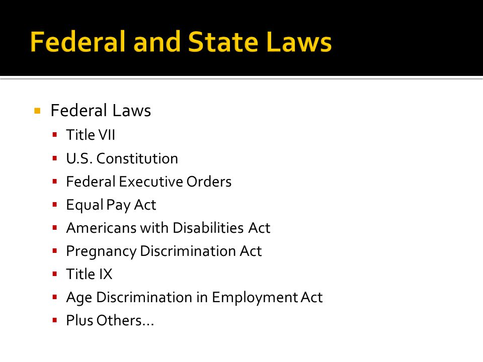  Federal Laws  Title VII  U.S.