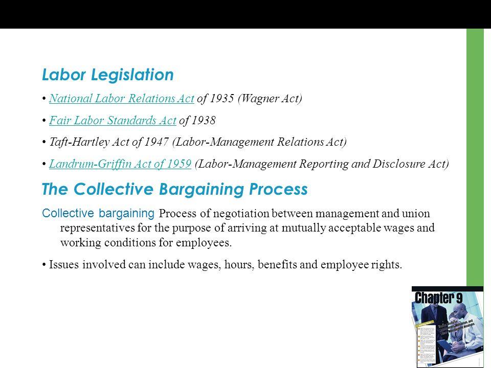 Labor Legislation National Labor Relations Act of 1935 (Wagner Act)National Labor Relations Act Fair Labor Standards Act of 1938Fair Labor Standards A