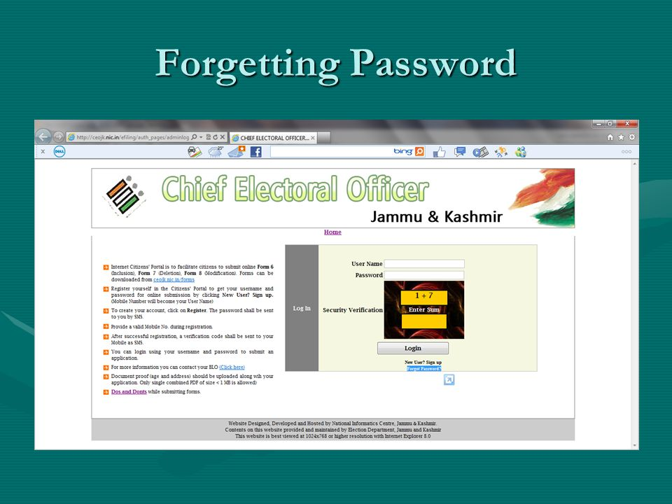 Forgetting Password