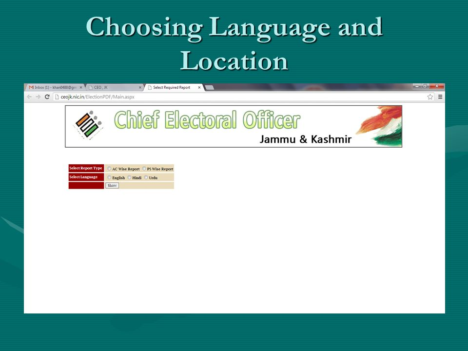 Choosing Language and Location
