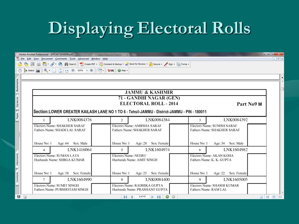 Displaying Electoral Rolls