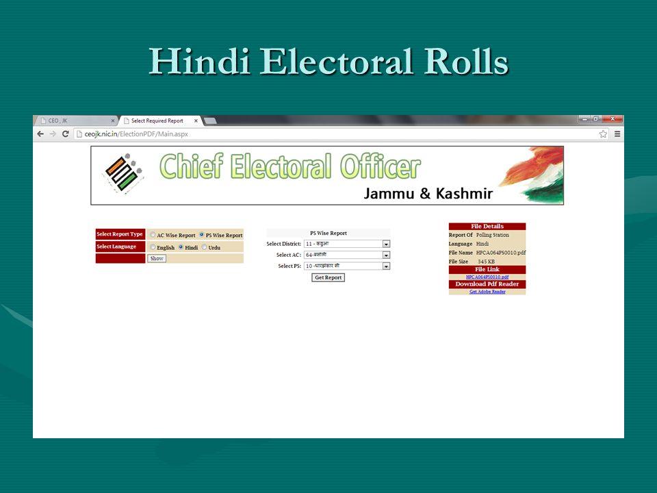 Hindi Electoral Rolls