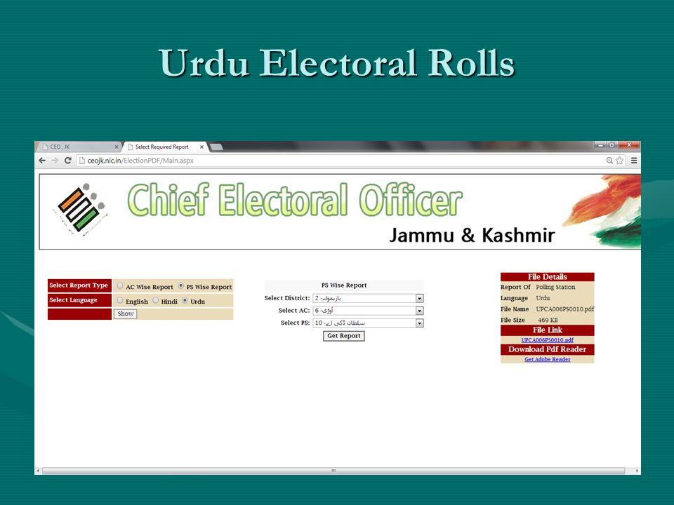 Urdu Electoral Rolls