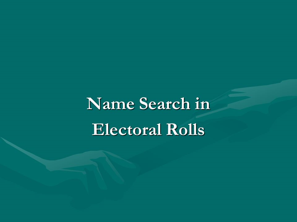 Name Search in Electoral Rolls