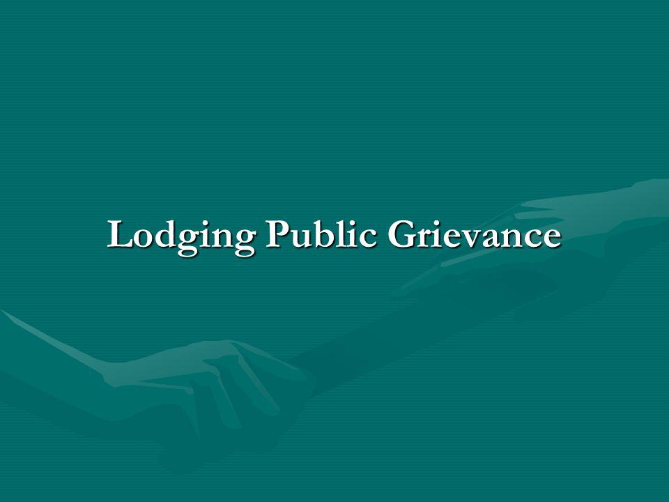 Lodging Public Grievance