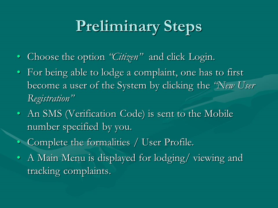 Preliminary Steps Choose the option Citizen and click Login.Choose the option Citizen and click Login.