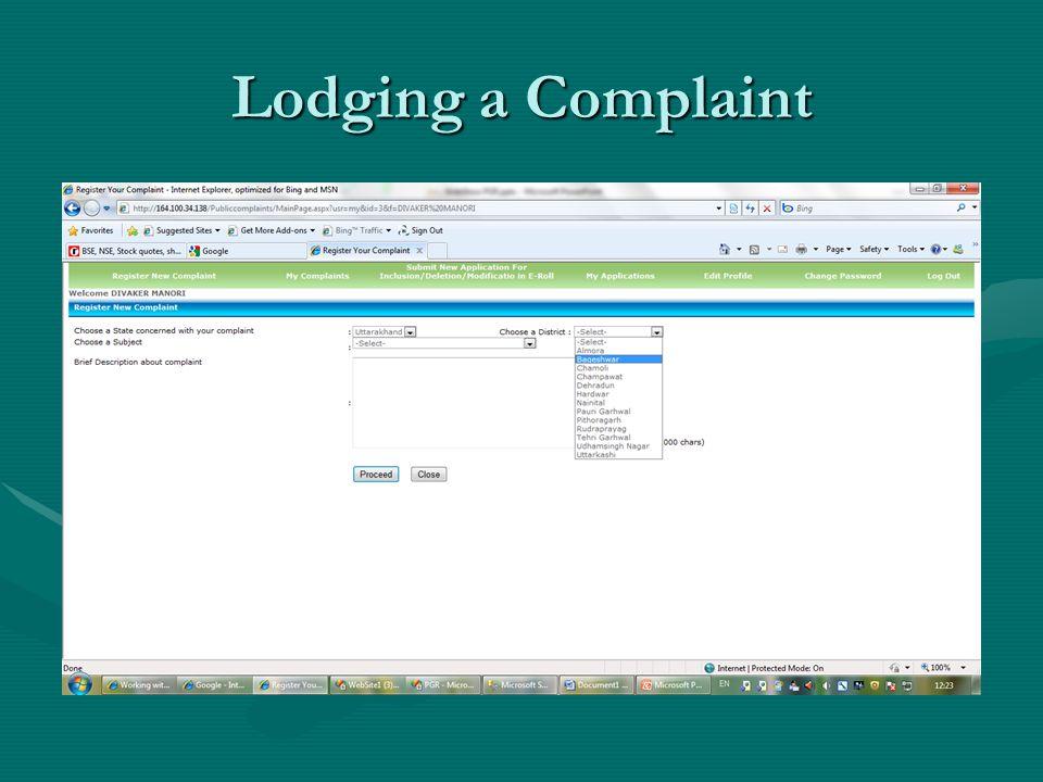 Lodging a Complaint