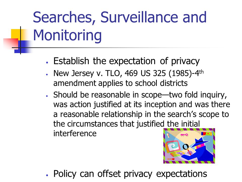 Searches, Surveillance and Monitoring Establish the expectation of privacy New Jersey v. TLO, 469 US 325 (1985)-4 th amendment applies to school distr