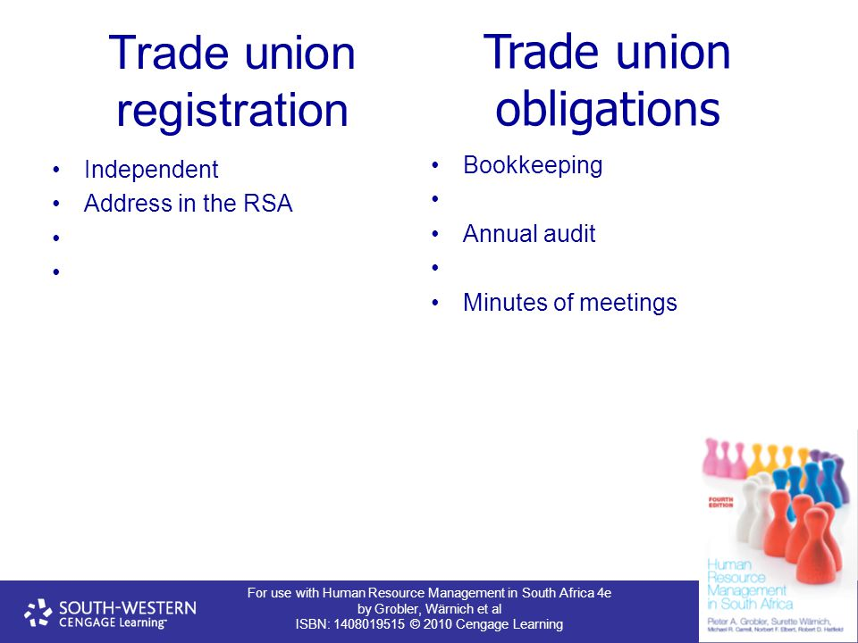 For use with Human Resource Management in South Africa 4e by Grobler, Wärnich et al ISBN: 1408019515 © 2010 Cengage Learning Trade union registration
