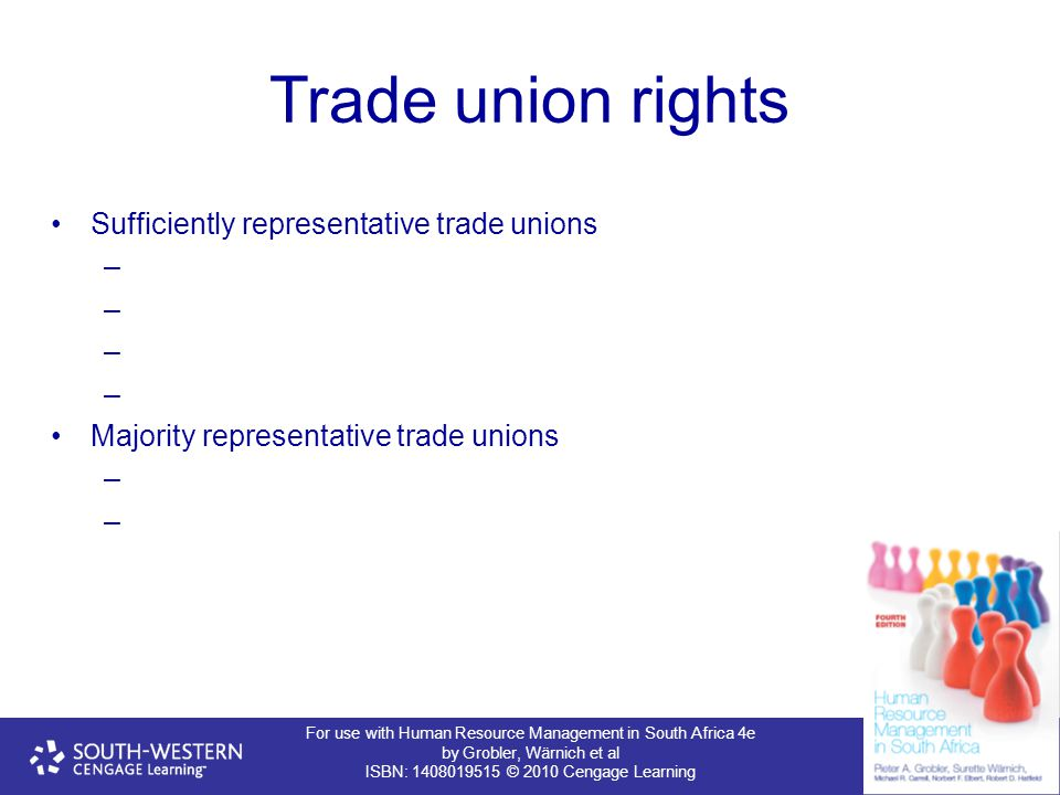 For use with Human Resource Management in South Africa 4e by Grobler, Wärnich et al ISBN: 1408019515 © 2010 Cengage Learning Trade union rights Suffic