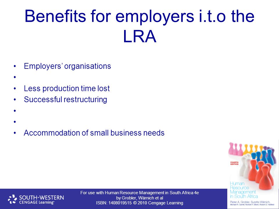 For use with Human Resource Management in South Africa 4e by Grobler, Wärnich et al ISBN: 1408019515 © 2010 Cengage Learning Benefits for employers i.