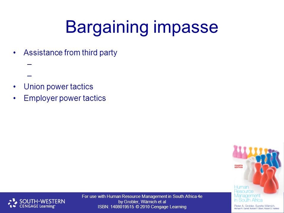 For use with Human Resource Management in South Africa 4e by Grobler, Wärnich et al ISBN: 1408019515 © 2010 Cengage Learning Bargaining impasse Assist
