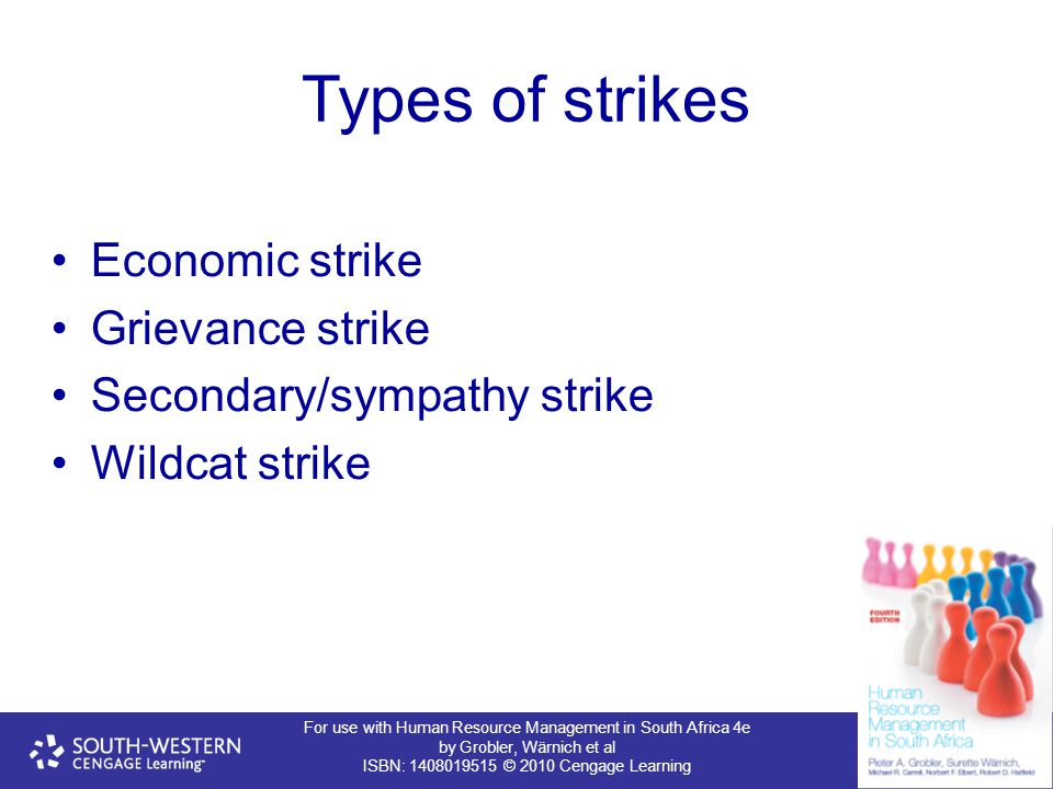 For use with Human Resource Management in South Africa 4e by Grobler, Wärnich et al ISBN: 1408019515 © 2010 Cengage Learning Types of strikes Economic