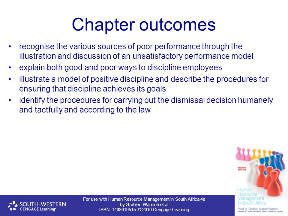 For use with Human Resource Management in South Africa 4e by Grobler, Wärnich et al ISBN: 1408019515 © 2010 Cengage Learning Chapter outcomes recognis