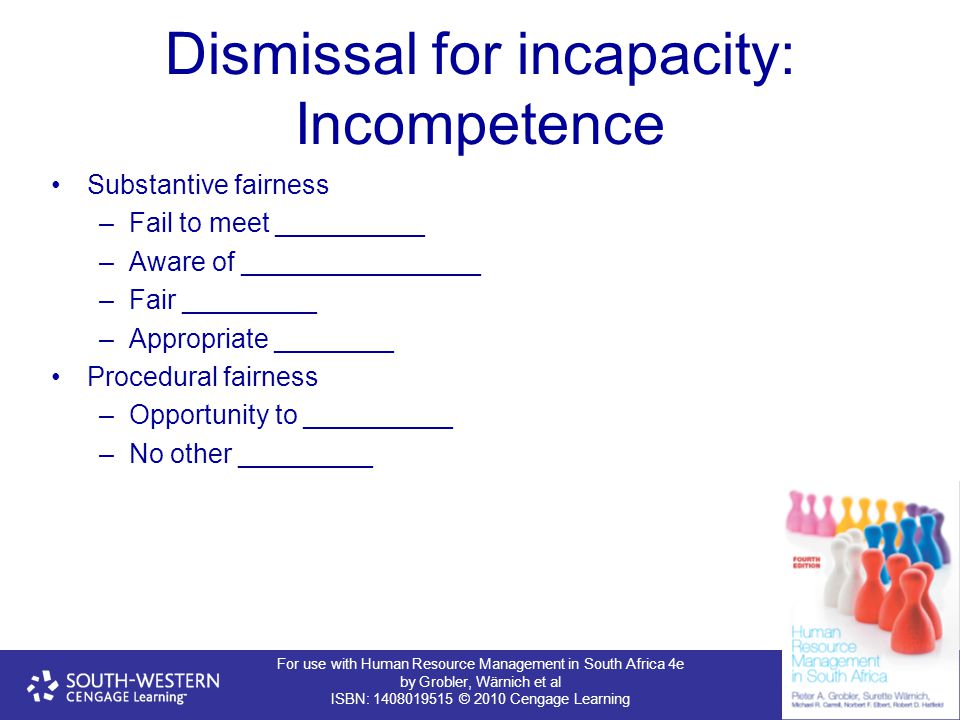 For use with Human Resource Management in South Africa 4e by Grobler, Wärnich et al ISBN: 1408019515 © 2010 Cengage Learning Dismissal for incapacity: