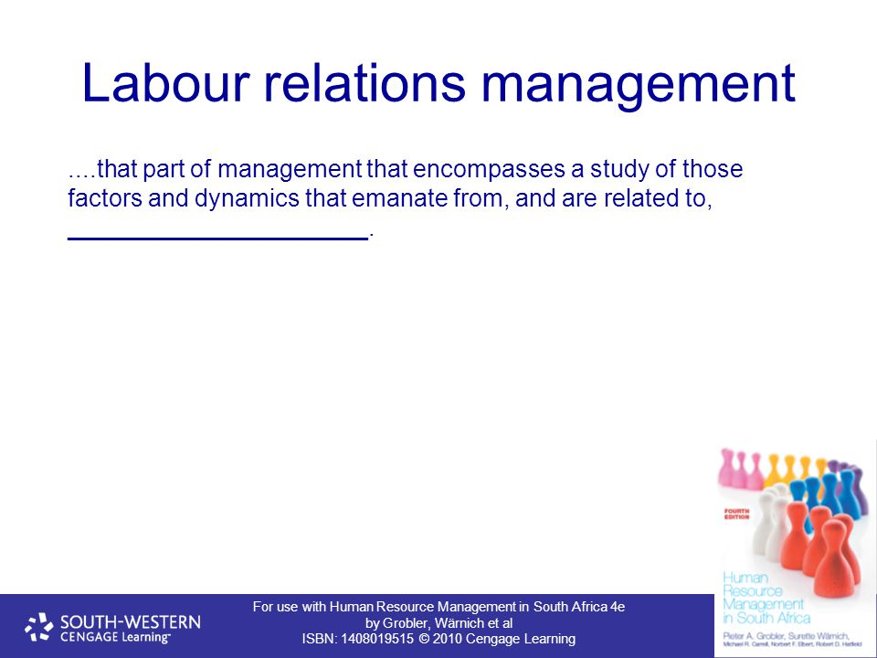 For use with Human Resource Management in South Africa 4e by Grobler, Wärnich et al ISBN: 1408019515 © 2010 Cengage Learning Labour relations manageme