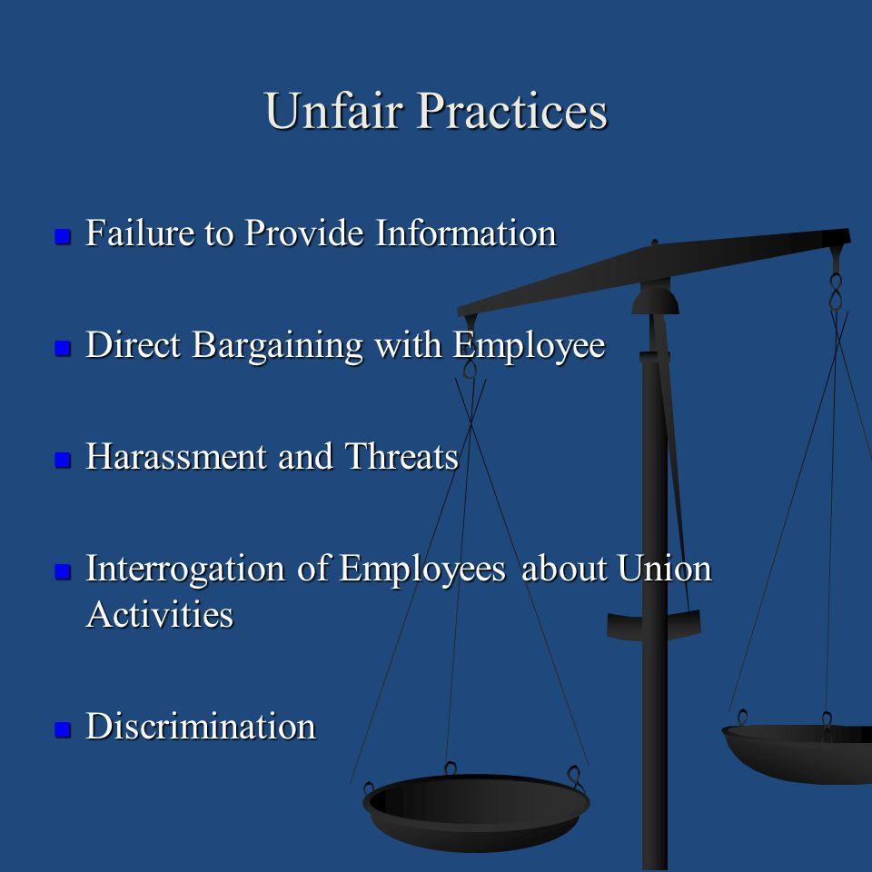Unfair Practices Failure to Provide Information Failure to Provide Information Direct Bargaining with Employee Direct Bargaining with Employee Harassm