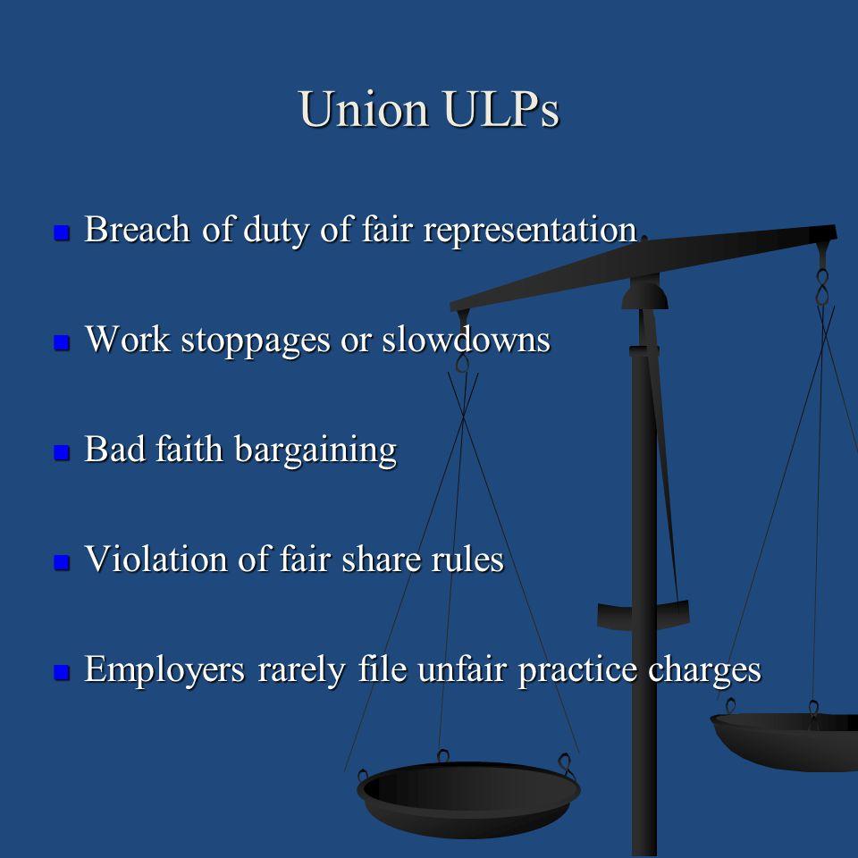 Union ULPs Breach of duty of fair representation Breach of duty of fair representation Work stoppages or slowdowns Work stoppages or slowdowns Bad fai