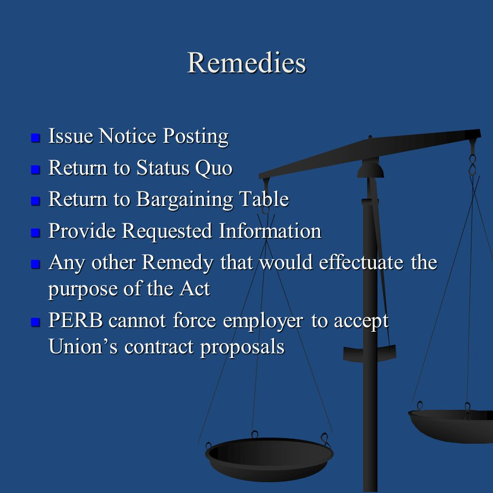 Remedies Issue Notice Posting Issue Notice Posting Return to Status Quo Return to Status Quo Return to Bargaining Table Return to Bargaining Table Pro