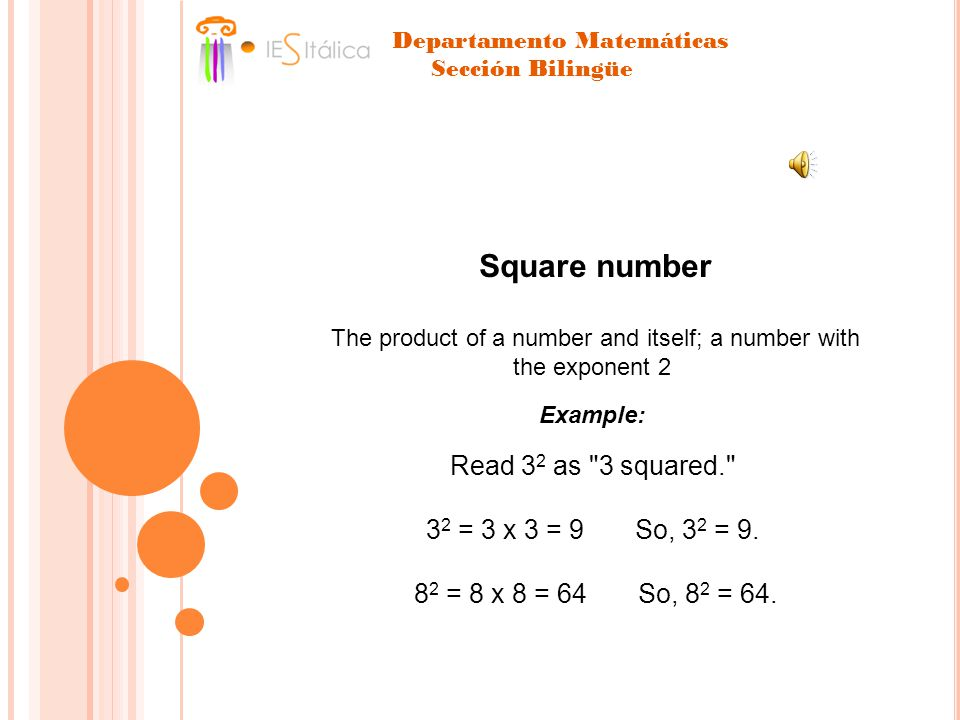 Square number The product of a number and itself; a number with the exponent 2 Example: Read 3 2 as 3 squared. 3 2 = 3 x 3 = 9 So, 3 2 = 9.