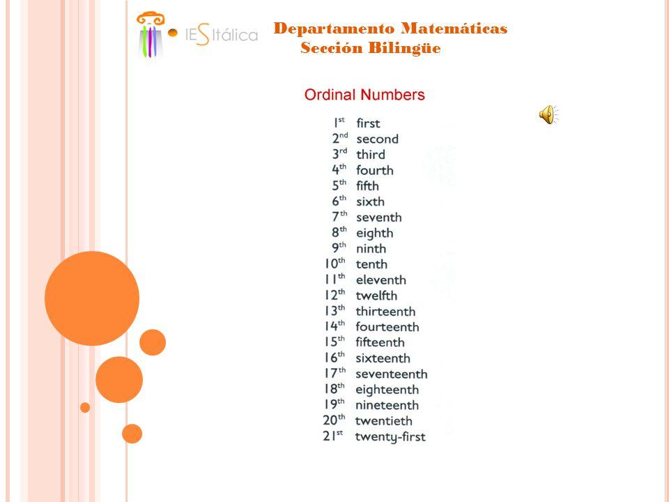 Departamento Matemáticas Sección Bilingüe