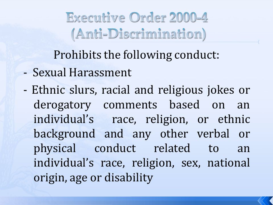 Prohibits the following conduct: - Sexual Harassment - Ethnic slurs, racial and religious jokes or derogatory comments based on an individual's race, religion, or ethnic background and any other verbal or physical conduct related to an individual's race, religion, sex, national origin, age or disability