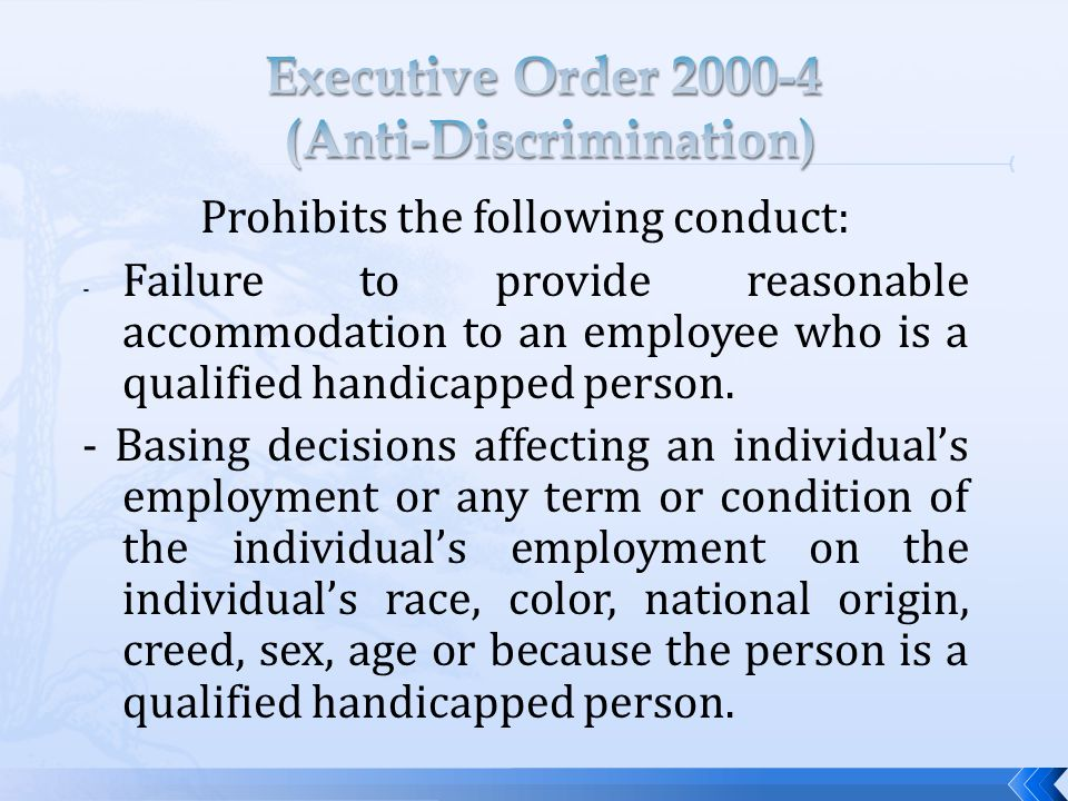 Prohibits the following conduct: - Failure to provide reasonable accommodation to an employee who is a qualified handicapped person.