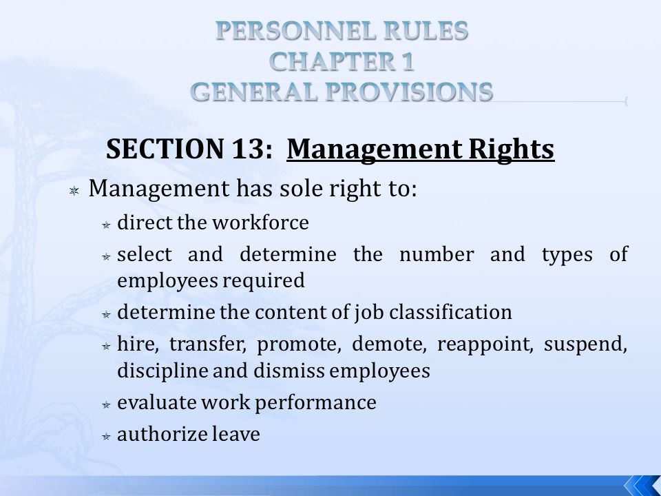 SECTION 13: Management Rights  Management has sole right to:  direct the workforce  select and determine the number and types of employees required  determine the content of job classification  hire, transfer, promote, demote, reappoint, suspend, discipline and dismiss employees  evaluate work performance  authorize leave