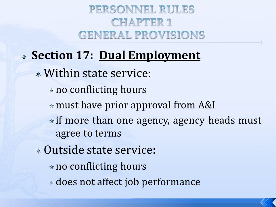 Section 17: Dual Employment  Within state service:  no conflicting hours  must have prior approval from A&I  if more than one agency, agency heads must agree to terms  Outside state service:  no conflicting hours  does not affect job performance