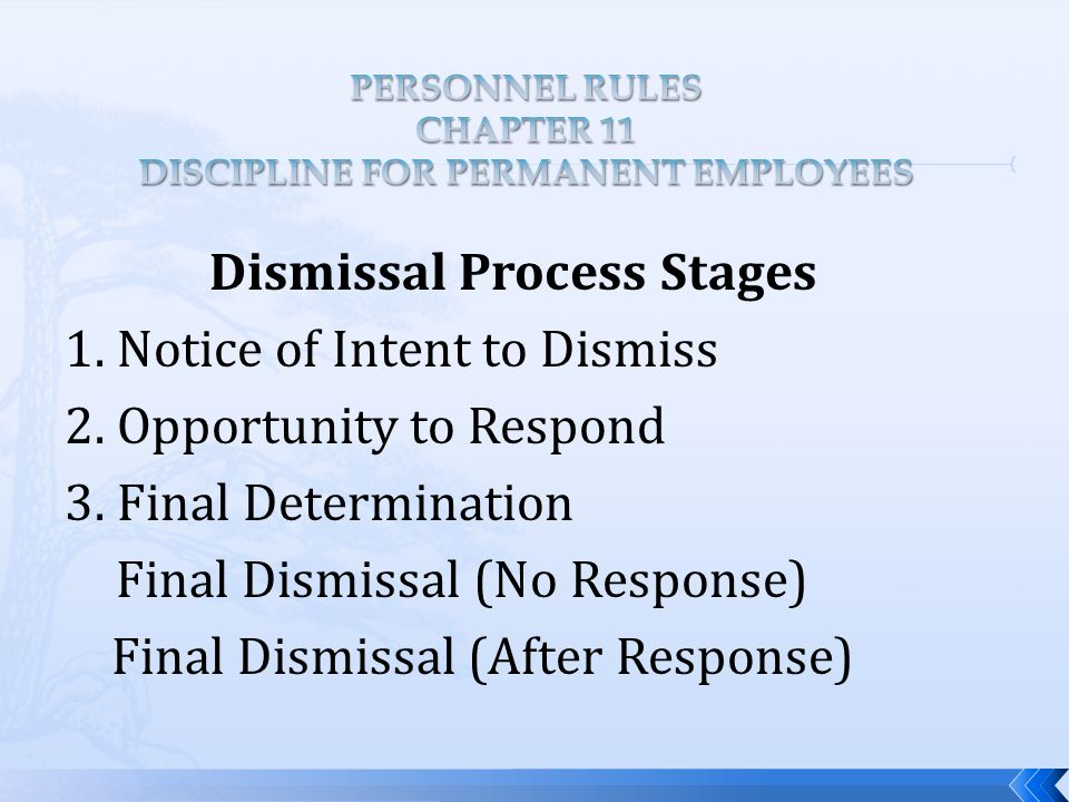 Dismissal Process Stages 1. Notice of Intent to Dismiss 2.