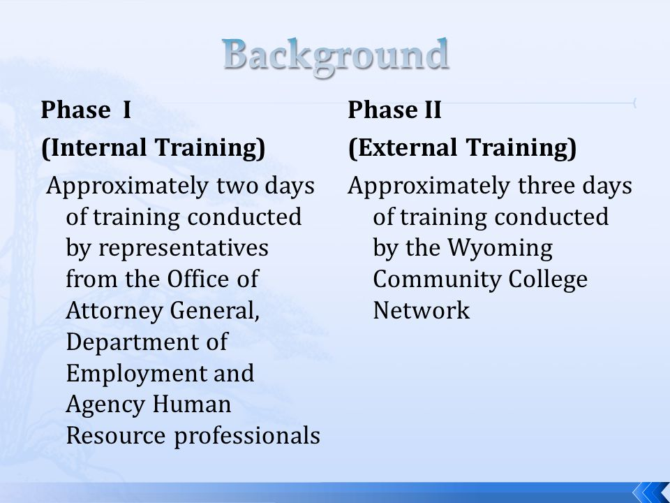 Phase I (Internal Training) Approximately two days of training conducted by representatives from the Office of Attorney General, Department of Employment and Agency Human Resource professionals Phase II (External Training) Approximately three days of training conducted by the Wyoming Community College Network