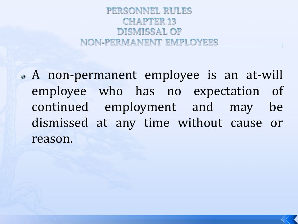  A non-permanent employee is an at-will employee who has no expectation of continued employment and may be dismissed at any time without cause or reason.