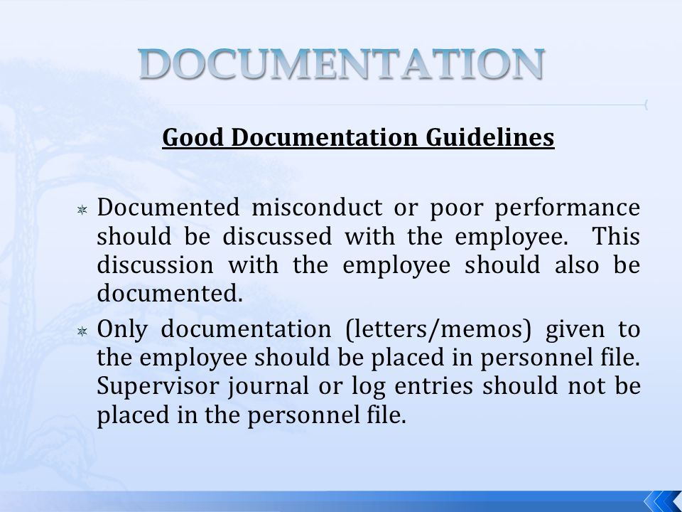 Good Documentation Guidelines  Documented misconduct or poor performance should be discussed with the employee.