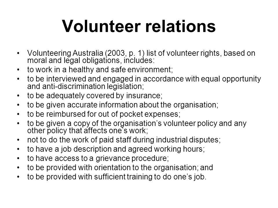 Volunteer relations Volunteering Australia (2003, p.