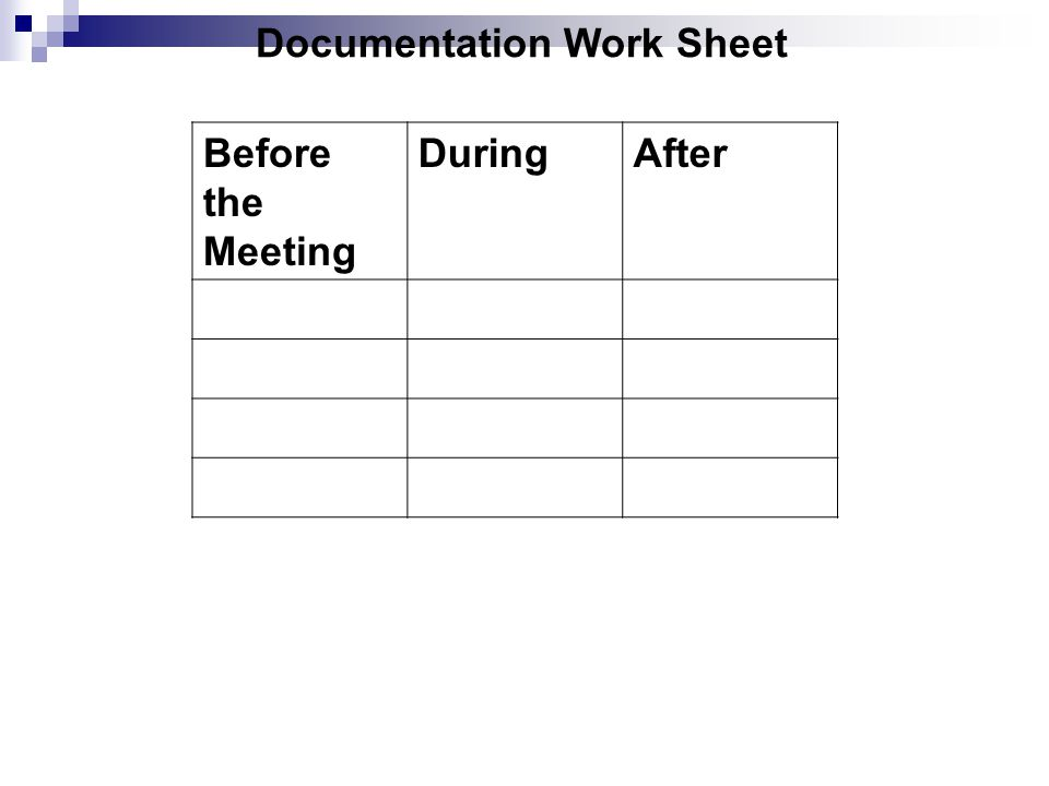 Documentation Work Sheet Before the Meeting DuringAfter