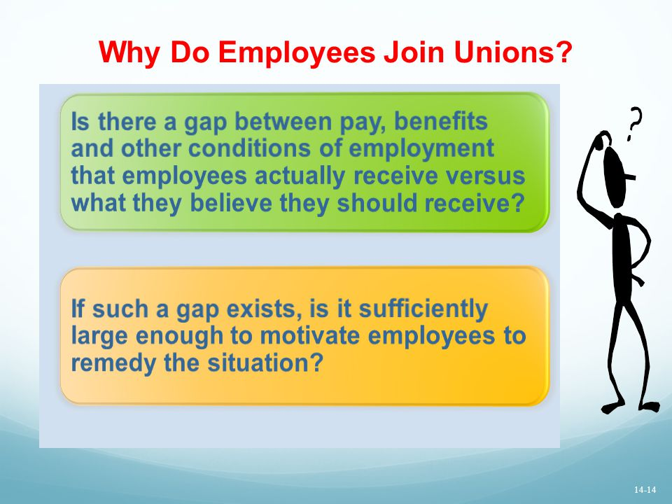Why Do Employees Join Unions? Is there a gap between pay, benefits and other conditions of employment that employees actually receive versus what they