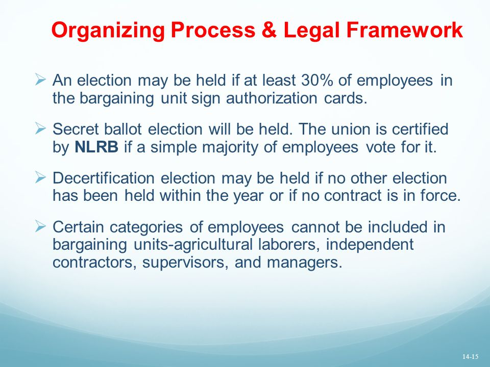 Organizing Process & Legal Framework  An election may be held if at least 30% of employees in the bargaining unit sign authorization cards.  Secret
