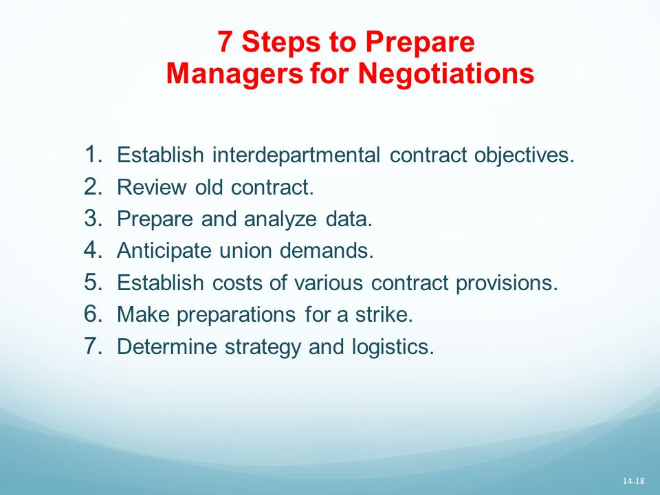 7 Steps to Prepare Managers for Negotiations 1.Establish interdepartmental contract objectives.