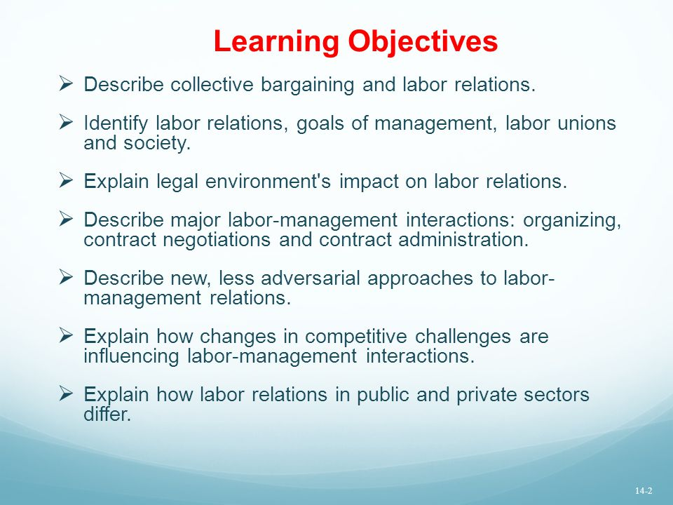 Learning Objectives  Describe collective bargaining and labor relations.