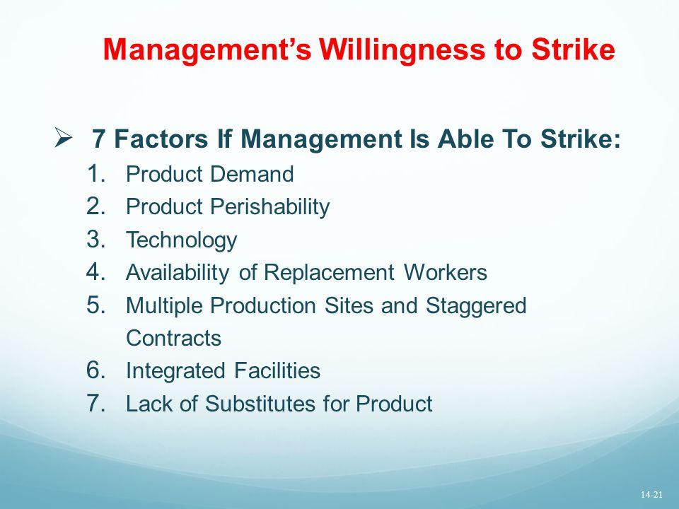 Management's Willingness to Strike  7 Factors If Management Is Able To Strike: 1. Product Demand 2. Product Perishability 3. Technology 4. Availabili