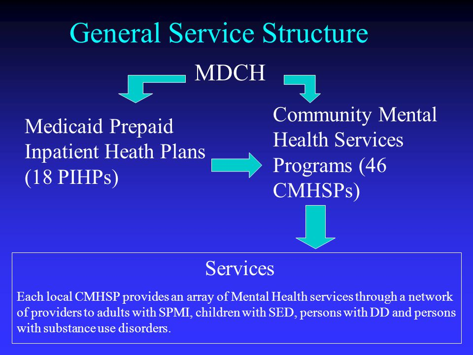General Service Structure MDCH Medicaid Prepaid Inpatient Heath Plans (18 PIHPs) Community Mental Health Services Programs (46 CMHSPs) Services Each local CMHSP provides an array of Mental Health services through a network of providers to adults with SPMI, children with SED, persons with DD and persons with substance use disorders.