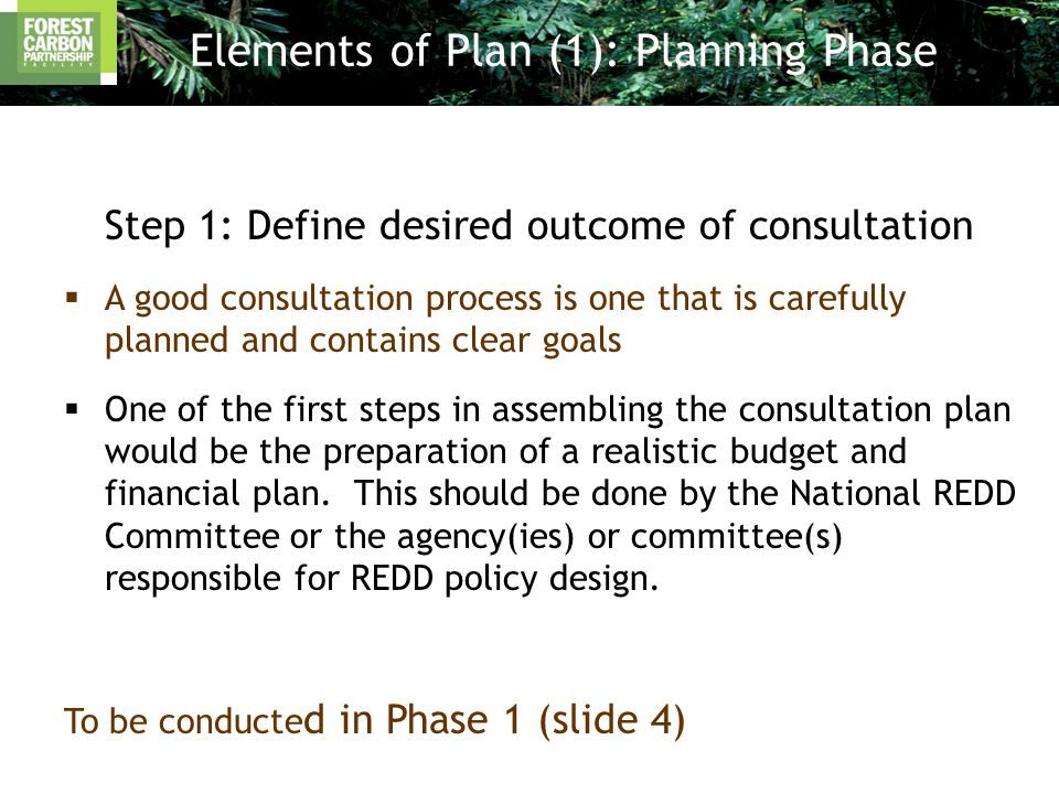 Elements of Plan (1): Planning Phase Step 1: Define desired outcome of consultation  A good consultation process is one that is carefully planned and contains clear goals  One of the first steps in assembling the consultation plan would be the preparation of a realistic budget and financial plan.
