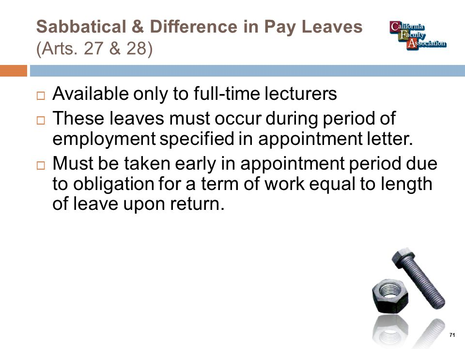 Sabbatical & Difference in Pay Leaves (Arts.
