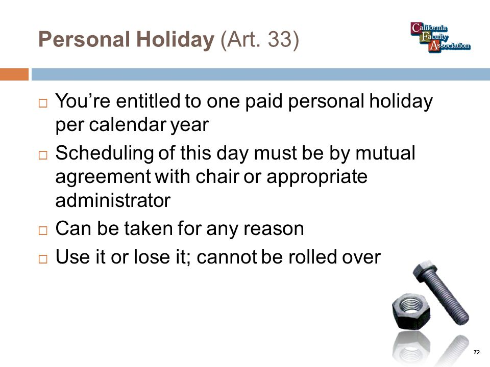 Personal Holiday (Art.