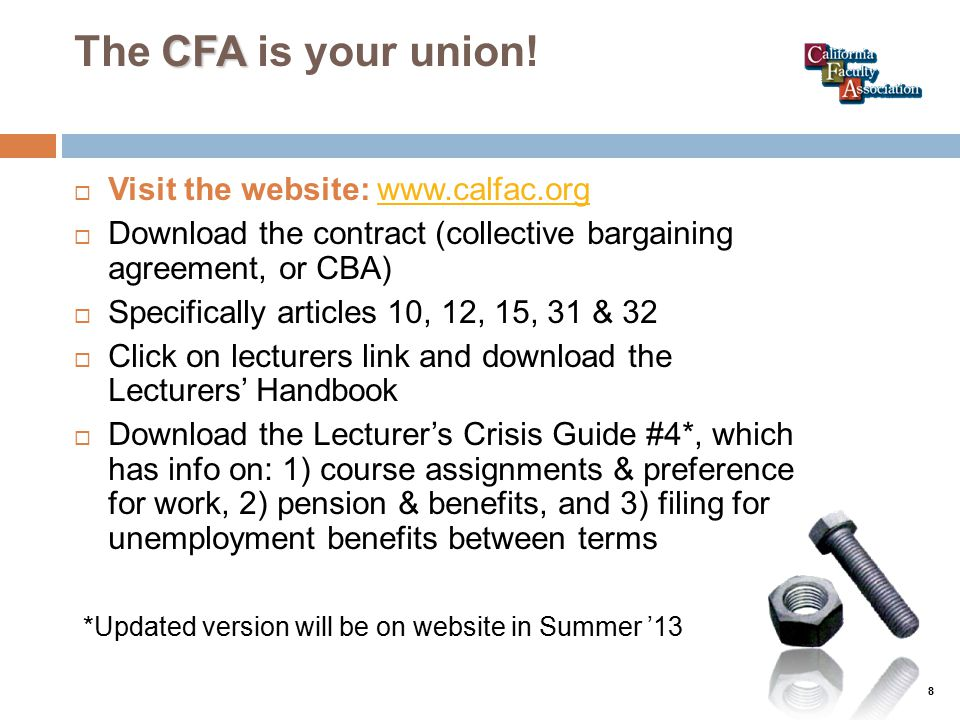 CFA The CFA is your union.