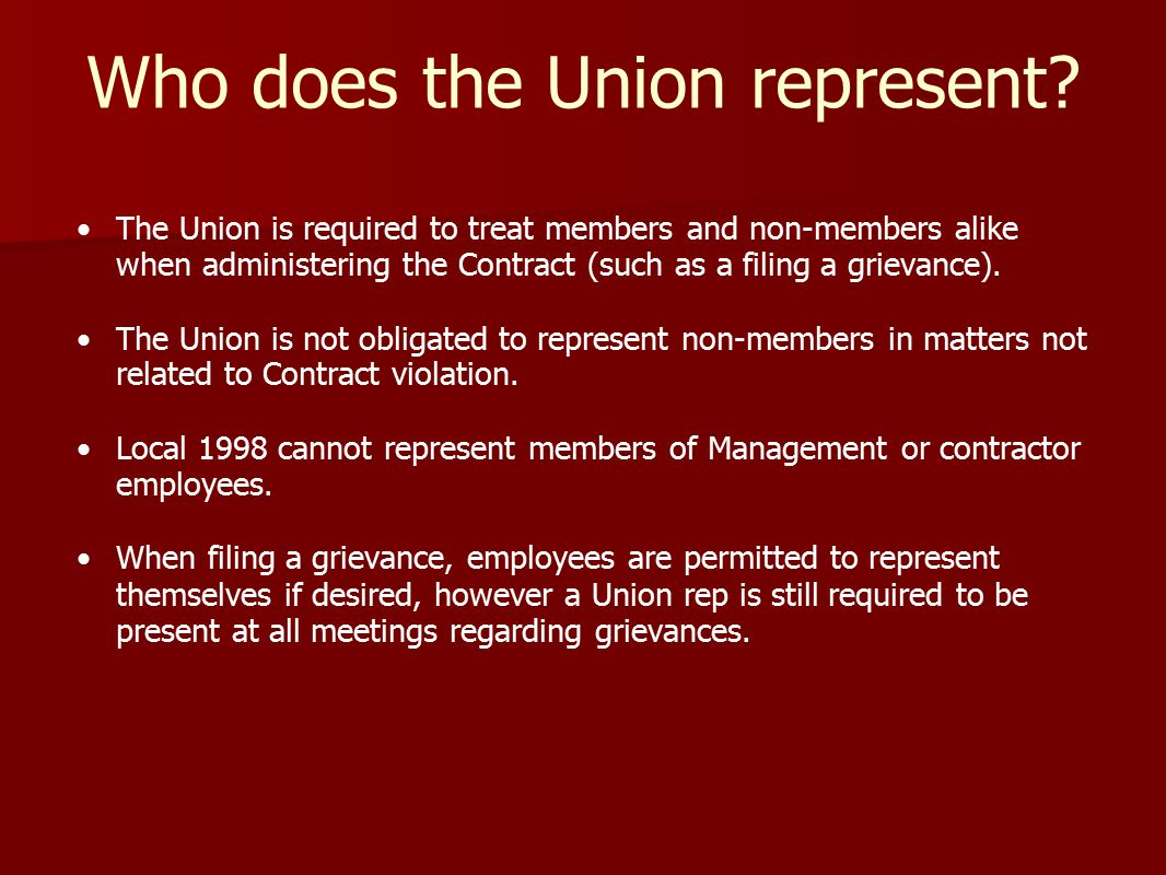 Who does the Union represent.