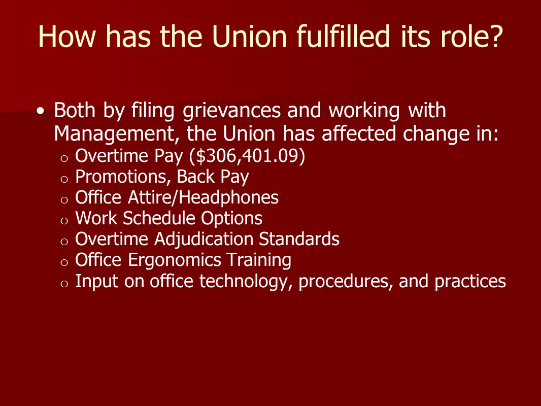 Structure of the Union The Union is required by law to be democratic, with representatives who are elected by the dues-paying Union members.