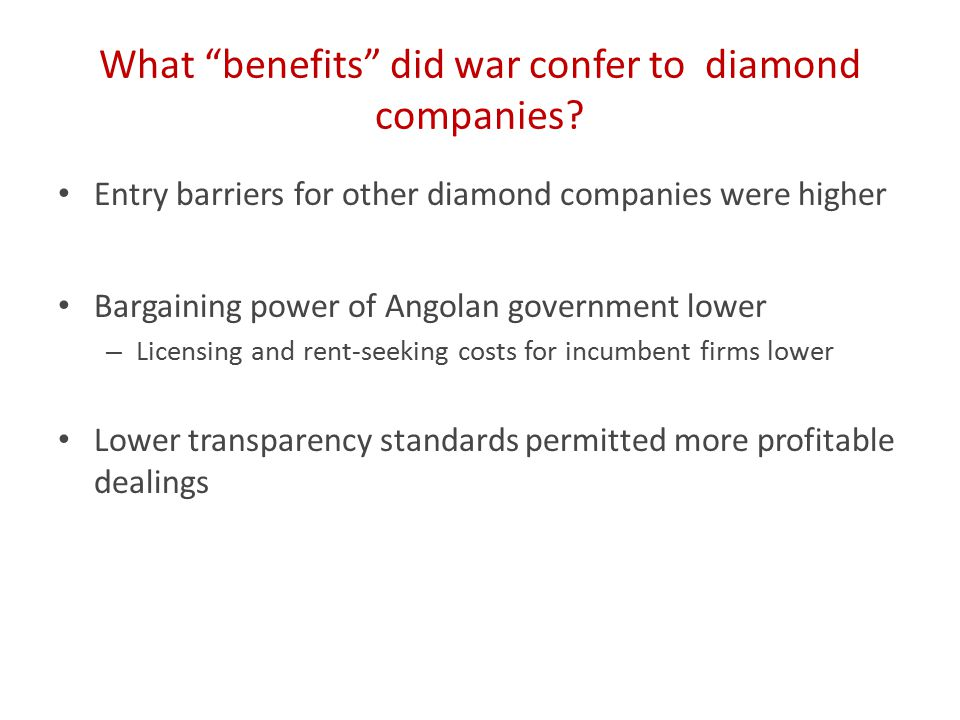 What benefits did war confer to diamond companies.
