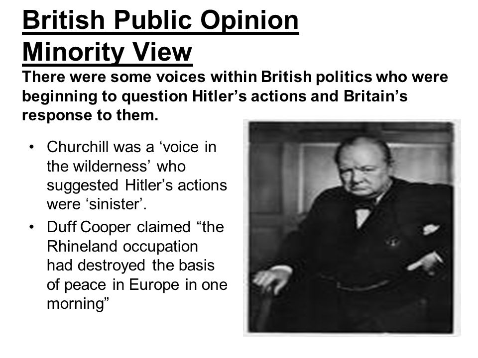British Public Opinion Minority View There were some voices within British politics who were beginning to question Hitler's actions and Britain's response to them.