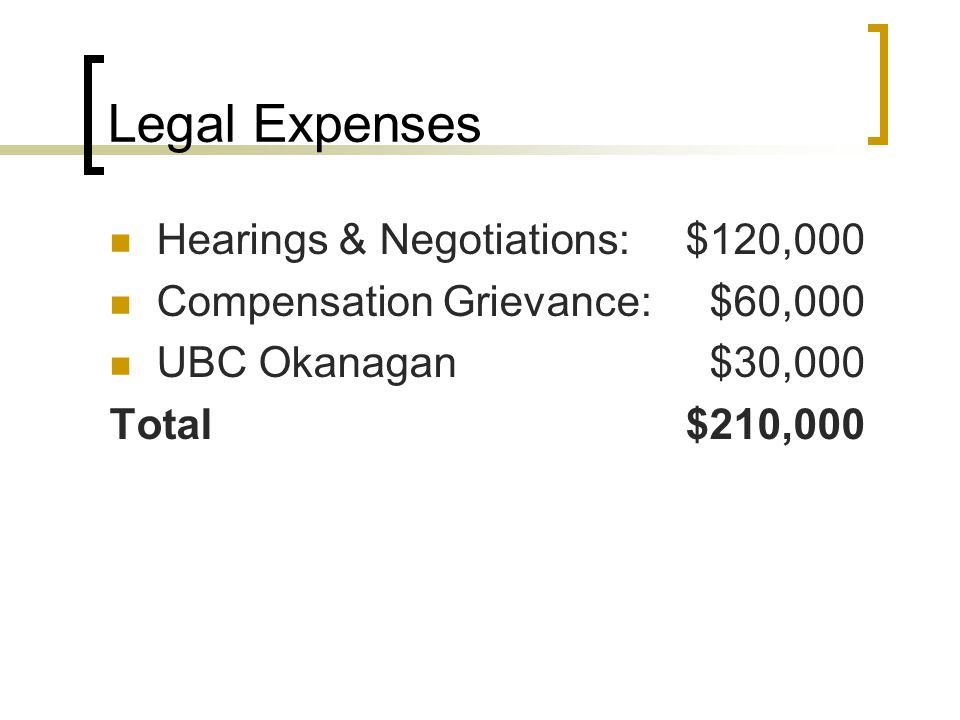 Legal Expenses Hearings & Negotiations:$120,000 Compensation Grievance: $60,000 UBC Okanagan $30,000 Total$210,000